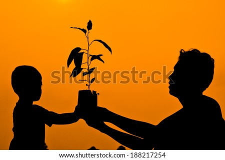father and son holding a tree together / planting a tree - stock photo