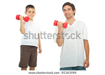 Father and son in white blank t-shirts training with dumbbell isolated on white background - stock photo