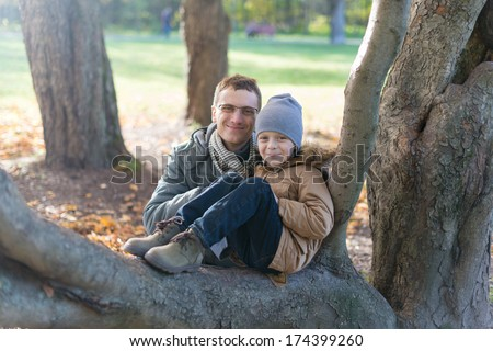 father and son on a walk in the park