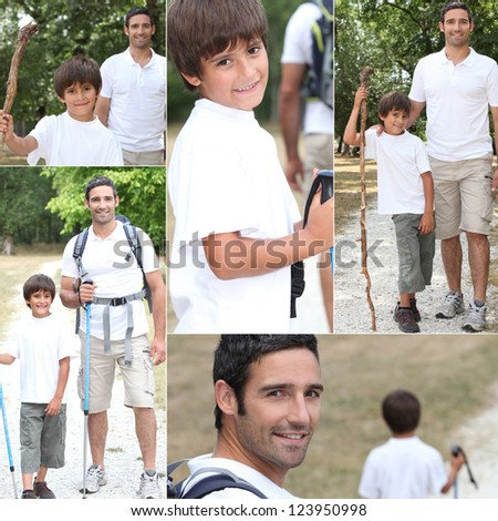 Father and son on hiking trip - stock photo