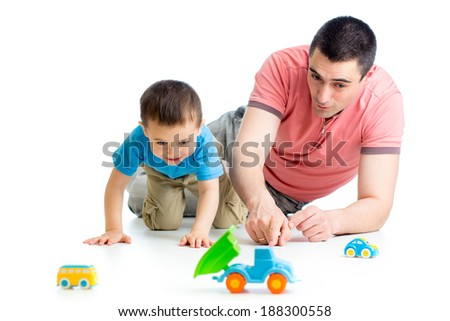 Father and son playing together