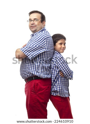 Father and son posing - stock photo