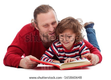 Father and son reading a story-book - isolated - stock photo