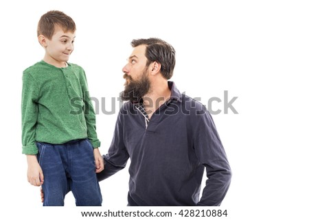 Father and son together isolated on white background
