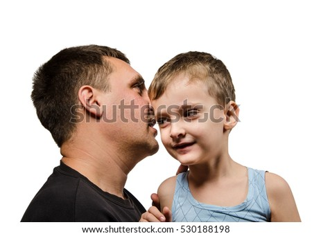 father and son whispering secrets about men on white background