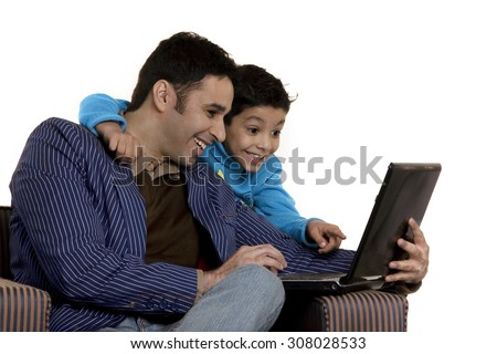 Father and son with a laptop