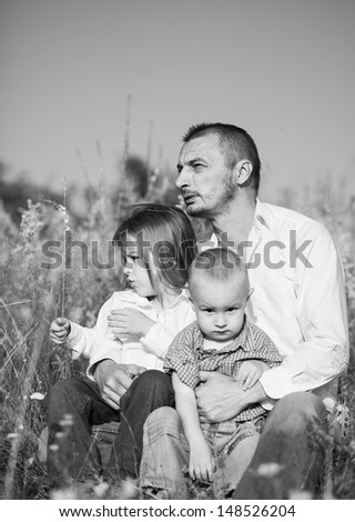 father and sons - stock photo