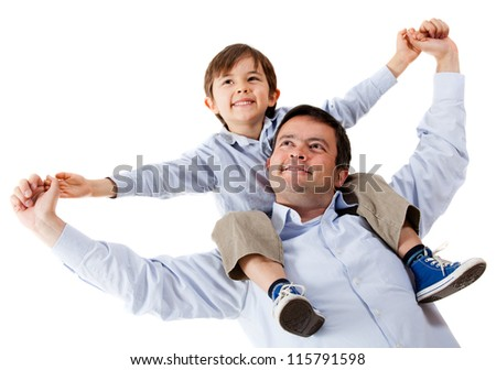Father carrying his son on shoulders - isolated over a white background - stock photo