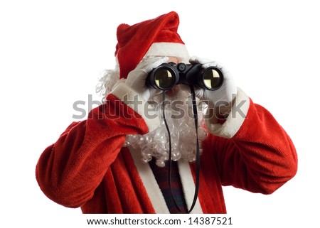 Father Christmas looking at the future business strategy with binoculars to the front - stock photo