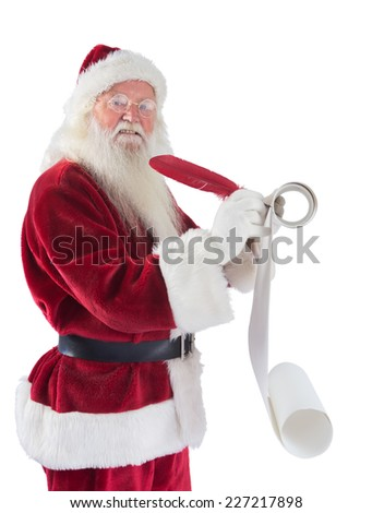 Father Christmas writes a list on white background - stock photo