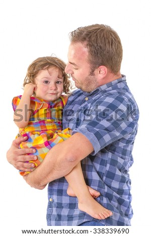 Father comforting his crying little daughter. Parenting concept. - stock photo