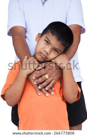 father embrace his son on isolate background - stock photo
