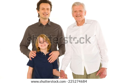 father gandfather with son nephew standing on white background - stock photo