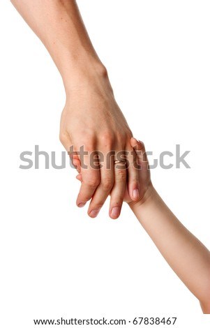 Father giving a hand to a child - stock photo