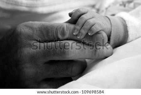 Father giving hand to a child closeup (black white) - stock photo