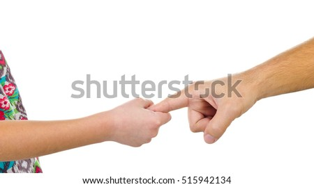 Father giving hand to a child isolated on white background