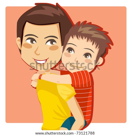 Father giving his little boy piggyback ride smiling - stock photo