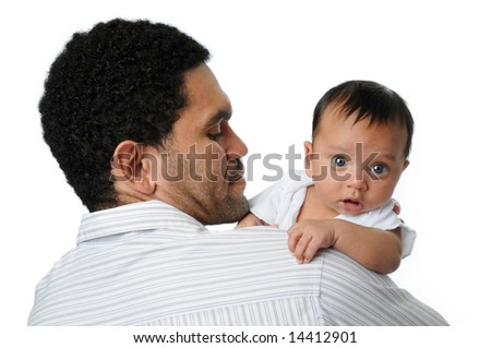 Father holding baby boy on his shoulder isolated over white