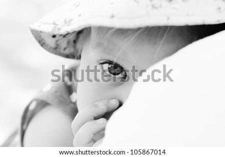 father holding his daughter, focus on the eyes - stock photo