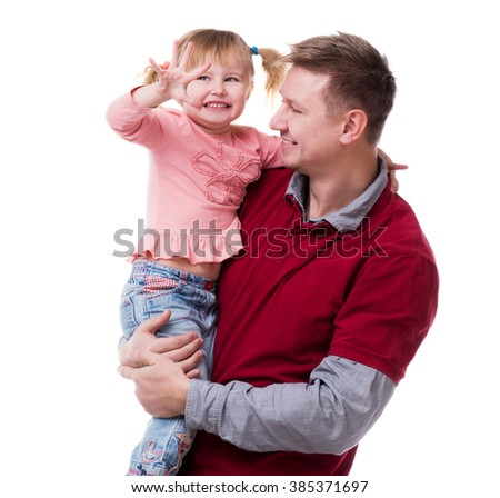 father holding little daudgter in his arms isolated on white background