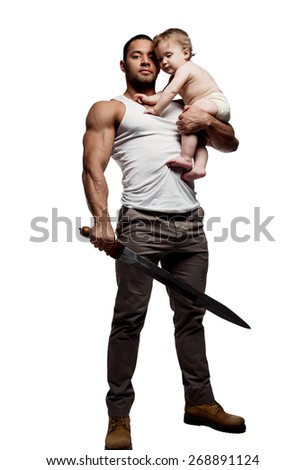 Father hugging a baby and holding a sword, isolated on white background. Conceptual photo, parental protection.   - stock photo