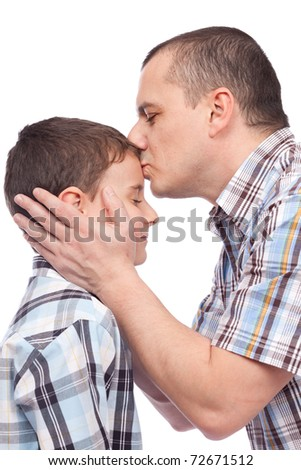 Father kissing his son on the forehead, isolated on white