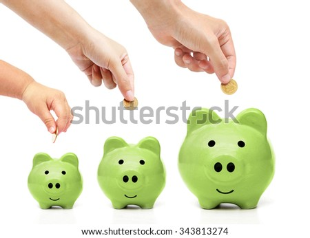Father, mother, and baby in the family do green saving - stock photo