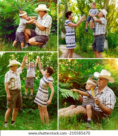 Father, mother and son are playing in nature. Happy family. Indian and cowboy together on the grass. Collage - stock photo