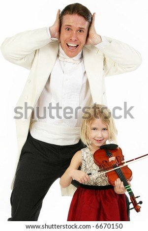 Father or tearcher and five year old daughter in formal wear; child with violin.