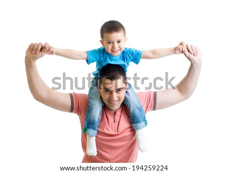 father playing with kid son isolated on white - stock photo