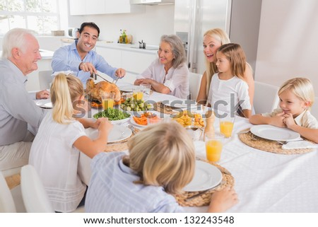 Father proposing a slice of turkey for thanksgiving - stock photo