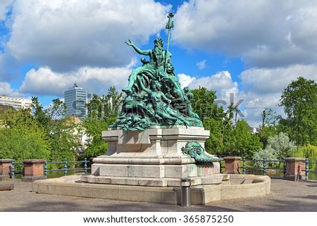 Father Rhine and his Daughters - a fountain sculpture in Dusseldorf, Germany. The sculpture was unveiled on March 7, 1897. - stock photo