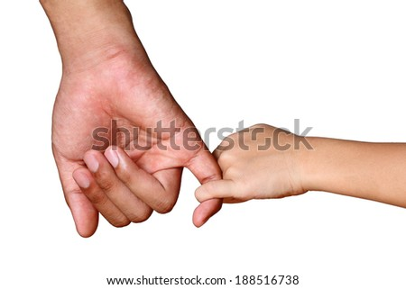 father's hand lead his child daughter isolated on white - stock photo