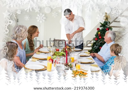 Father serving Christmas meal to family against fir tree forest and snowflakes - stock photo