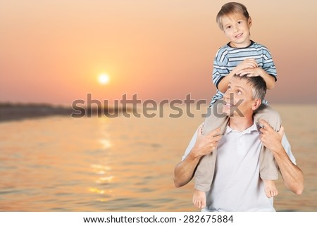 Father, Son, Father's Day. - stock photo