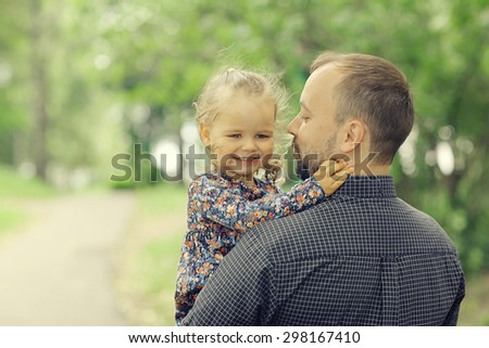 father travels with her daughter - stock photo