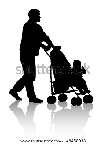Father walking with a baby in a stroller.