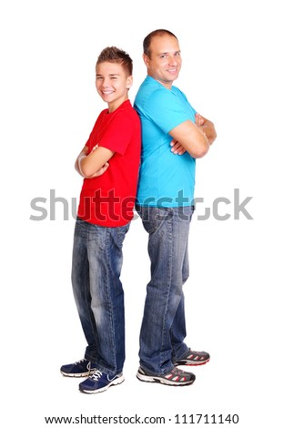 Father with a son  full length - stock photo