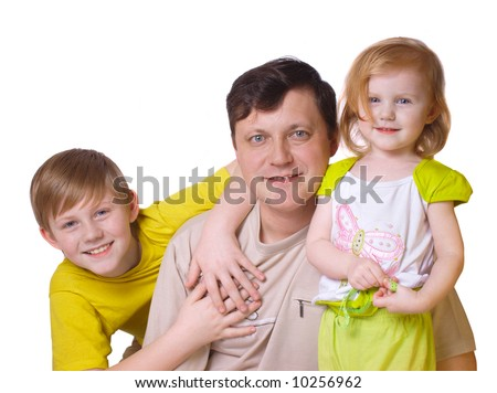 father with daughter and son isolated on white