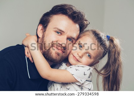 Father with daughter portrait - stock photo