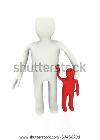father with his son isolated on white