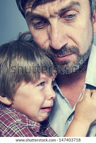 father with his young boy son - stock photo