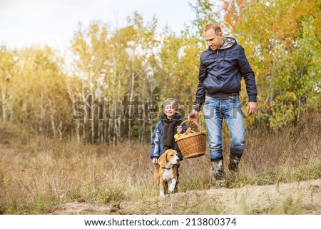Father with son and dog picks a mushrooms in forest - stock photo