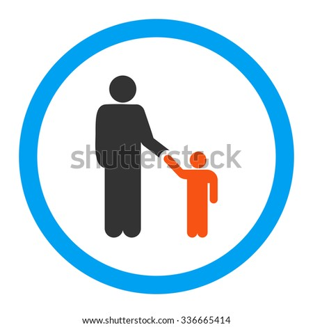 Father With Son glyph icon. Style is flat rounded symbol, bright colors, rounded angles, white background.