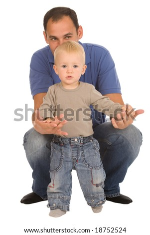 father with son isolated on a white background