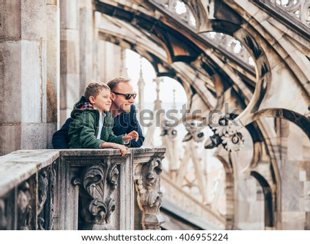 Father with son on the roof of Duomo di Milano - stock photo
