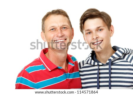 Father with son teen happy smiling over white background - stock photo