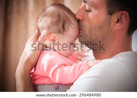 father with the baby - stock photo