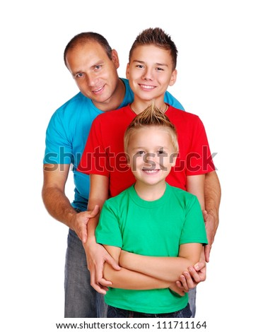 Father with two sons - stock photo