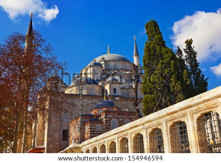 Fatih mosque in Istanbul Turkey - architecture religion background - stock photo